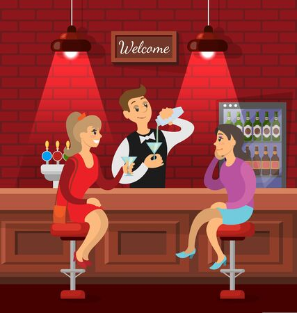 Pub or bar in red color with bricks wall and lamps, characters talking. Woman discussing events, friends nightlife of people. Bartender pouring alcoholic cocktail for girls sitting on stools. Vector Banque d'images - 131138438