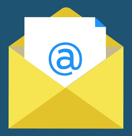 Letter symbol, paper with email sign in yellow envelope. Writing online, modern technology of workstation, poster or report, element of broker. Vector illustration in flat cartoon style