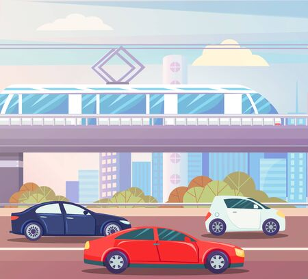 Automobiles moving by road, train going by bridge, skyscrapers and trees. Transport moving near buildings downtown, car and autobahn, vehicle. Vector illustration in flat cartoon style Stock Illustratie
