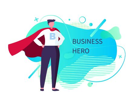 Business hero vector, man wearing suit and mantle standing in brace posture, male saving world, super business man with powers and abilities. Abstract design Çizim