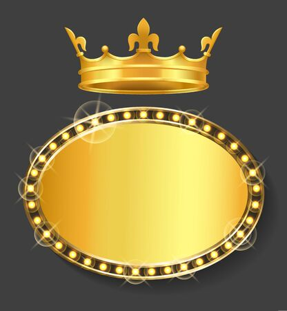 Banner with copy space vector, isolated gold crown of queen or king. Royal symbol, monarchy prince or princess. Frame with lights and glowing bulbs