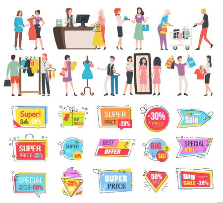 Shopping people in stores vector, isolated banners and labels. Best price and reduction of cost, cashier on counter, shopper man choosing clothes. Black friday. Business sale stikers. Flat cartoon