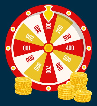 Fortune wheel and golden coins, casino gambling game poster with prize combinations and stacks of earned money. Betting and risk concept, hobby leisure. Vector illustration in flat cartoon style Illustration