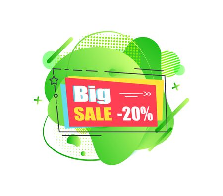 Big sale 20 percent off vector, isolated banner with star and stripe, discounts and special offers for clients and customers of shops, price cutting Ilustração