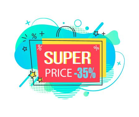 Super price, isolated banner in form of shopping bag with handle. Clearance and sale, trading on market promotion and marketing of shops. Vector illustration in flat cartoon style