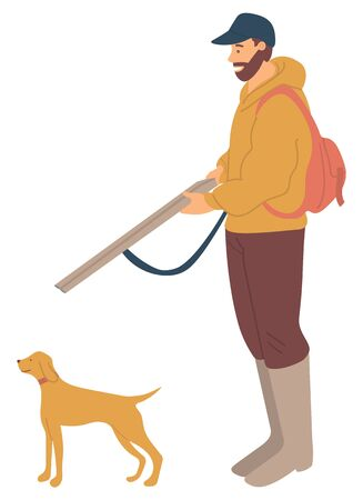 Huntsman with rifle and hunting dog pointer isolated. Bearded man and puppy purebred for hunt, pedigree hound or retriever. Vector illustration in flat cartoon style