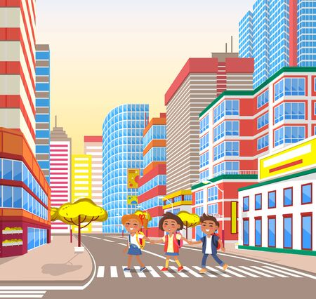 School-children crossing road in city, buildings with appartments panoramic windows and trees. Children going on street, smiling girl and boy walking outdoor. Vector illustration in flat cartoon style