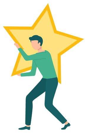 Man character holding star, icon of best service for business. Company satisfaction, symbol of reputation and professional, quality and status, win. Vector illustration in flat cartoon style