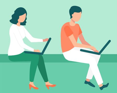 Man and woman using computer, company startup and success. People developing best service for business, worker communication with laptop, work. Vector illustration in flat cartoon style Фото со стока - 131063780