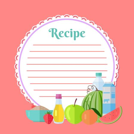 Ingredients for homemade dish, bottle and box of milk, apple and orange, strawberry and oil, flour in bowl. Pink recipe cookbook, round clean list. Vector illustration in flat cartoon style Stock Illustratie
