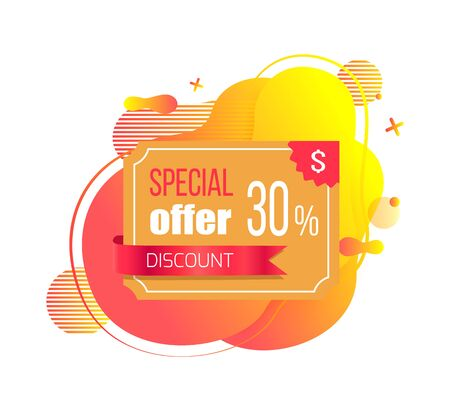 Special offer discount 30 percent off vector, sale and proposition from shop, plastic credit card on abstract design, price reduction orange banner Ilustracja