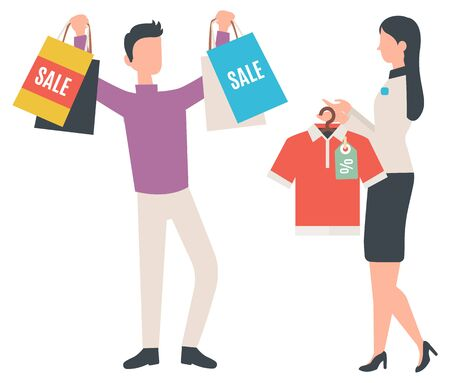 Man with packages at shop, isolated characters flat style. Fashion advisor, shop consultant showing tshirt to client with bags, happy customer. Vector illustration in flat cartoon style