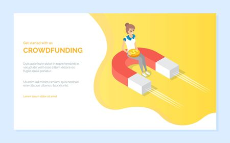 Attract money by magnet, woman holding coin. Finance strategy online, investment and cash, crowdfunding web, creative currency innovation vector. Website or webpage template, landing page flat style