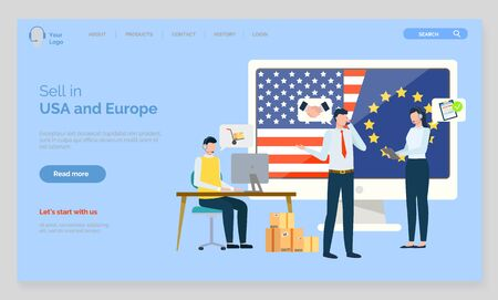 Europe and USA relations, business interaction vector, people cooperating working together. Collaboration of companies directors meeting. Website or webpage template, landing page flat style