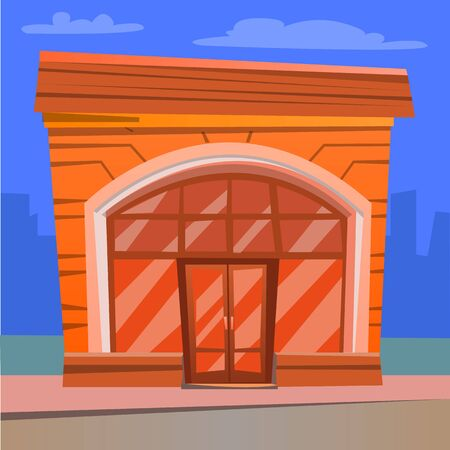 Diner exterior, facade of restaurant. Flat style building in city, cityscape with skyscraper, urban style of diner. Redbrick construction eatery. Vector illustration in flat cartoon style