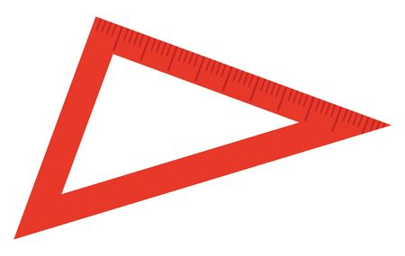 School stationery supply, red triangular ruler or measuring tool isolated object. Geometry and drawing, measurement, schoolbag item, education. Vector illustration in flat cartoon style