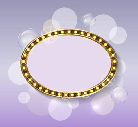 Blank gold frame and backdrop with glimmer vector. Round framework, golden oval framing with gems and glossy backdrop, banner template or background