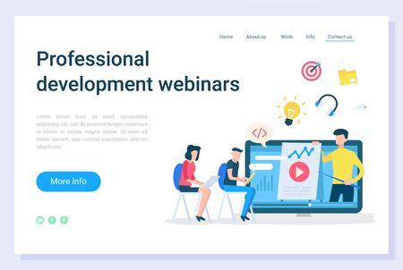 Professional development webinars, electronic library. Online education technology, communication with laptop, business teaching, learning vector. Webpage or website template, landing page flat style Illustration