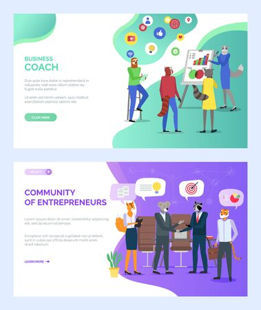 Cozy coworking center vector, hipster animals working on business project, community of entrepreneurs coach and students listening to lady cat. Website or webpage template, landing page flat style