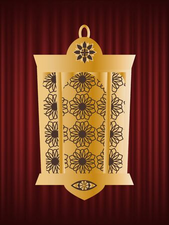 Golden lantern, Ramadan Kareem, festival greeting card decorated by light with pattern, traditional arab illuminated, jewell element, holiday vector. Red curtain theater background Иллюстрация