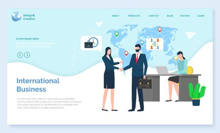 International business, workers trade, worldwide work, communication with laptop. Teamwork cooperation, man and woman corporate, handshake vector. Website or webpage template, landing page flat style Иллюстрация