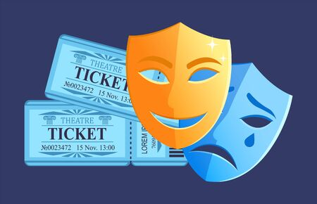 Comedy and drama play in theater, disguise with happy and sad face, tickets admission for concert, place and seats, piece of paper. Comedy and tragedy masks. Vector illustration in flat cartoon style