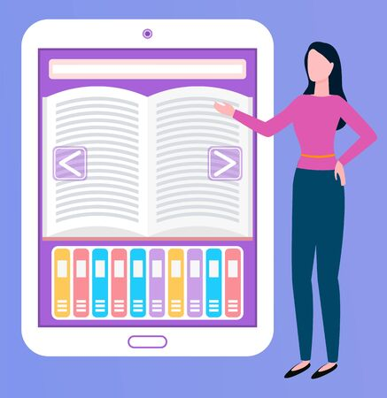 Broker woman showing ebook on tablet, modern technology. Portrait view of female worker communication with wireless device, manager presenting. Online education. Vector in flat cartoon style