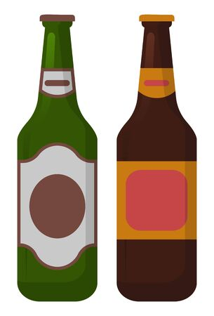 Bottle of alcohol drink, element of celebration party, toast symbol. Alcoholic beverage cognac and wine or champagne and rum, ale or gin, whiskey, pub object, entertainment strong drinks vector