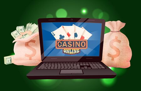 Laptop and full money bags, earning dollars online. Casino game in laptop, wireless device and prize currency, deck of playing card, poker. Vector illustration in cartoon. Win money in online casino