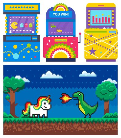 Duel of unicorn and dragon with fire, dark view and green nature. Game machine set, old video-game, superhero and computer, joystick symbol vector. 8 bit pixel ojects for app game