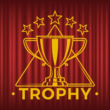 Glossy golden trophy cup in triangle with five stars. Victory reward, metal goblet . First place prize for winner, championship vector illustration. Red curtain theater background