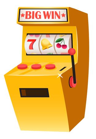Casino playing games on money vector, isolated slot machine with sevens. Triple 777 machinery for gambling. Losing and winning cash and finance assets. Vector illustration in flat cartoon style