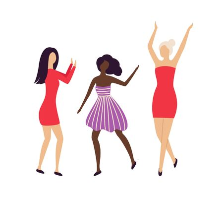 Pretty girls having hen-party at disco club isolated characters. Multinational caucasian and afro-american women hang out at concert or bar. Female dansing on party. Vector in flat cartoon style Иллюстрация