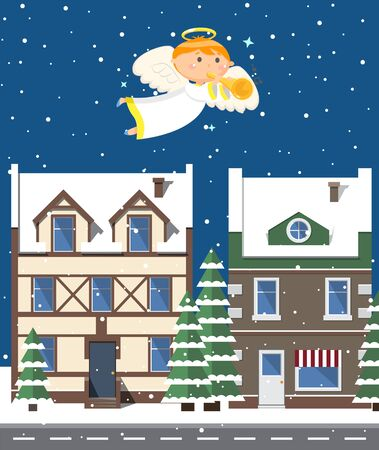 Angel in dress playing trumpet and flying over evening city in winter period of year, glossy buildings and trees covered with snow, dark outdoor, sky with stars. Christmas night. Vector cartoon style Illustration