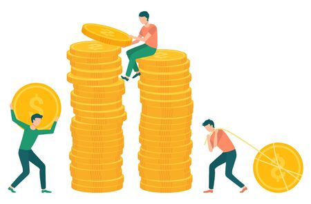 People collecting coins in pile of money. Investors with financial assets, male carrying big dollar gold cash in hands of character. Vector illustration in flat cartoon style Иллюстрация