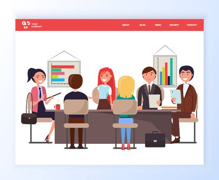 Business conference vector, people sitting by table discussing problems of company, whiteboard with charts and information on issue, office worker meeting. Website or webpage template, landing page