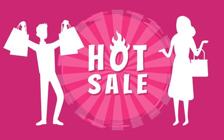People standing with bags from shop with purchases. Woman and Man happy to buy clothes with discounts. Capture hot sale vector illustration in flat style. Business sale stikers. Flat cartoon