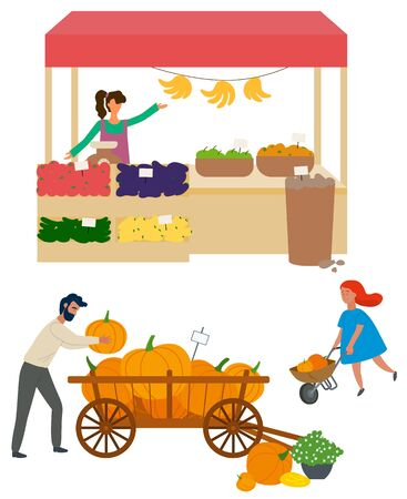 Salesperson with organic production, isolated woman with cucumber and aubergines, bananas and apples. Man and kid with pumpkins on cart. Vector illustration in flat cartoon style