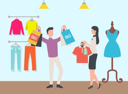Shopping character holding purchased items in bags, woman and male in store. Room with clothes, mannequin with dress and jeans, sweaters on hanger. Vector illustration in flat cartoon style