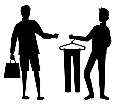 Man and shop assistant in store. Guy looking for pants to measure and buy. Black men silhouettes on white background. Male shopping icon. Vector illustration in flat cartoon style