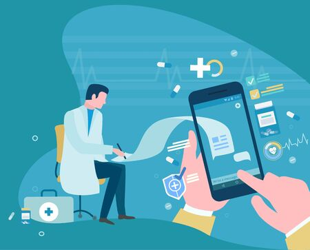 Online medical consultation, patient using cell phone chatting with doctor. Doc helping sick person with help of internet and gadgets. Vector illustration in flat cartoon style