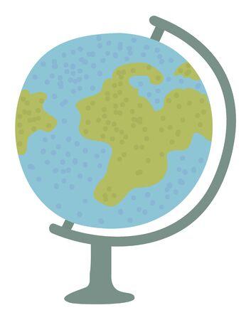 Vecteur de discipline géographique, modèle de globe isolé de la terre. Carte arrondie avec les pays des continents et les océans. L'éducation à l'école acquiert des connaissances. Retour au concept de l'école. Dessin animé plat