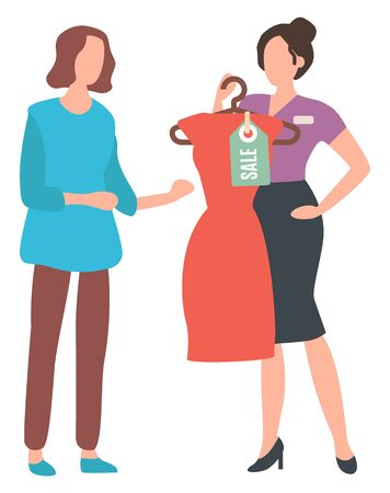 Shopping lady, isolated female with dress and price tag. Fashion advisor consultant in store, buying clothes festive clothing for female character. Vector illustration in flat cartoon style