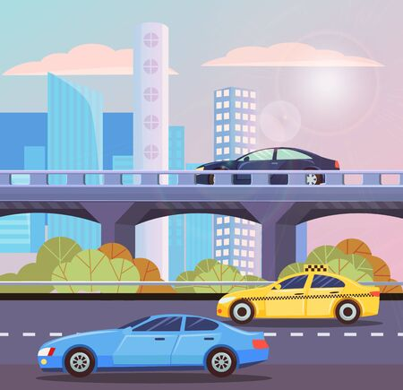 Automobiles going by road and autobahn in city. Skyscraper view, sunny shine, taxi and auto moving in downtown, high building and transport. Vector illustration in flat cartoon style Иллюстрация