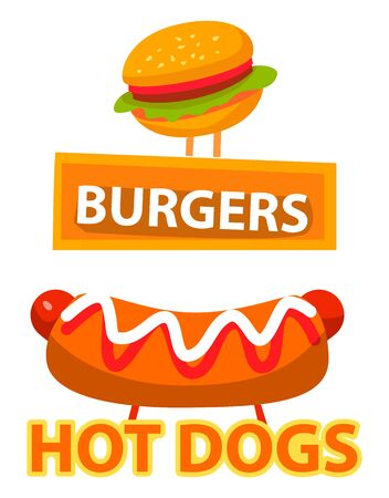 Banners for eatery and diner, fast food bistro signboards. Burgers and hot dogs with bun and ketchup, mustard and sausage dishes. Vector illustration in flat cartoon style