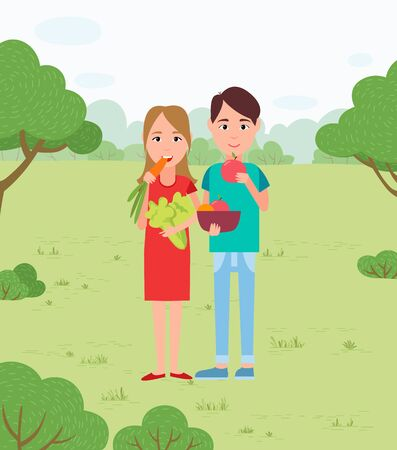 Picnic and vegetable snacks, vegans couple in park. Carrot and cabbage, apple and orange in bowl, girl and guy among trees and bushes on nature. Vector illustration in flat cartoon style Иллюстрация