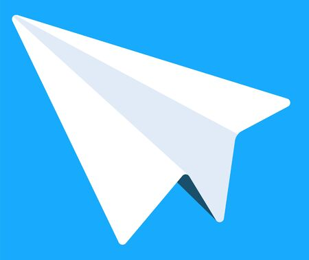 Paper plane, electronic library icon, messenger or mail. Software and media, modern technology, computer or mobile device app symbol, interface. Vector illustration in flat cartoon style