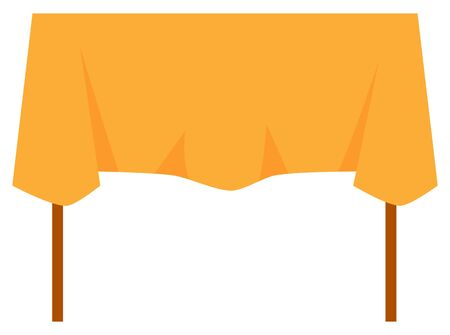 Wooden table with orange tablecloth isolated on white background. Furniture piece for kitchen or living room. Garage sale concept. Vector illustration in flat cartoon style