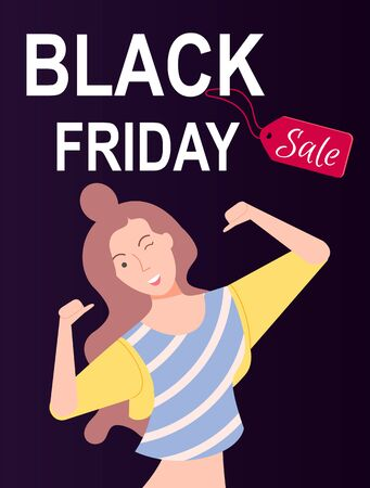 Black friday sale at store means big discounts on things in shops. Paradise for shoppers. Happy brunette girl on dark background. Girl happy on friday sale. Vector illustration in flat cartoon style Иллюстрация