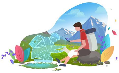 Travailleur médical en ligne aidant un homme de randonnée, une personne blessée au genou dans les montagnes. Patient avec assistance smartphone consultation en ligne de premiers secours. Projection holographique du docteur. Paysage de verdure